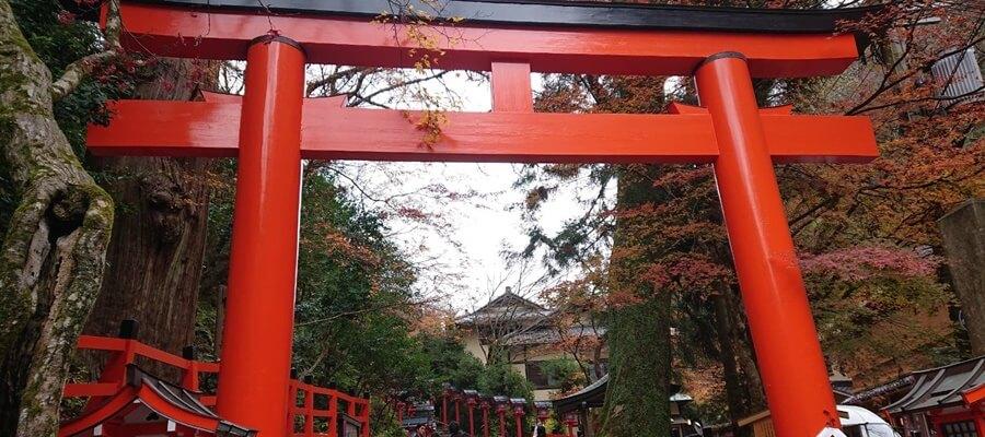 京都の貴船神社へ到着した写真